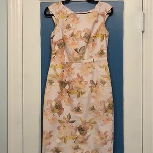 Brooks Brothers pink floral wiggle dress size 2